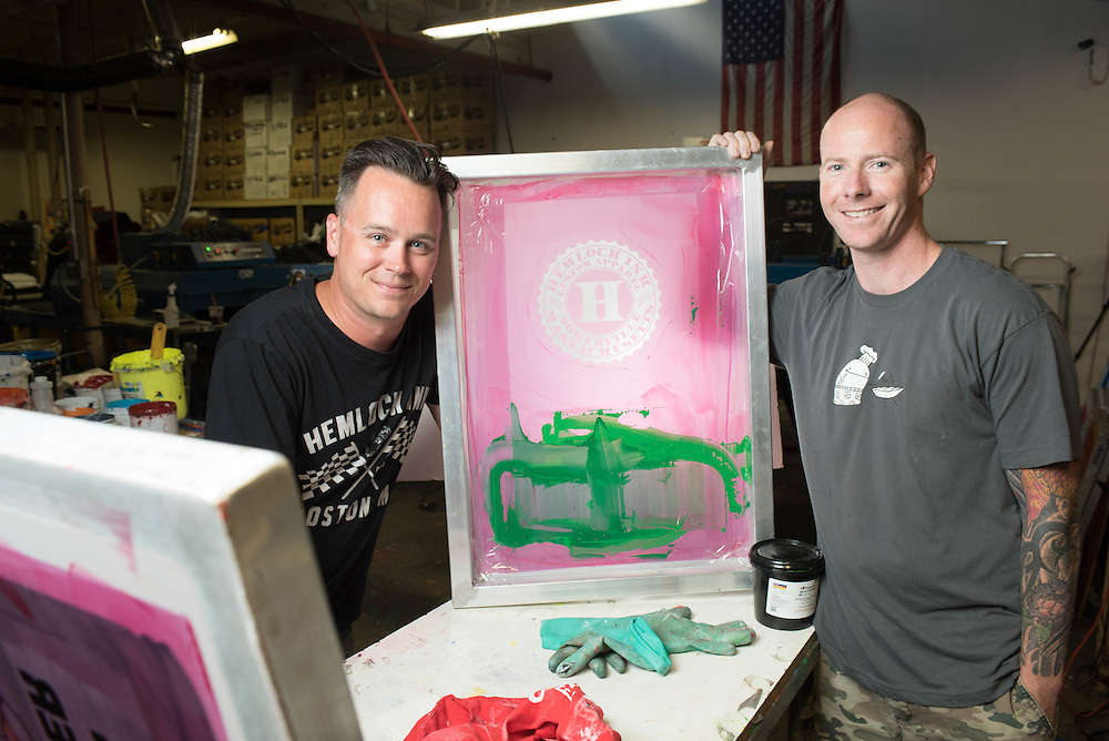 Hemlock Ink owners and cousins Dan and Neal on the shop floor.