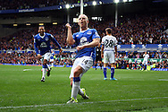 Steven Naismith of Everton celebrates after scoring his and his teams 3rd goal to complete his hat-trick.  Barclays Premier League match, Everton v Chelsea at Goodison Park in Liverpool on Saturday 12th September 2015.<br /> pic by Chris Stading, Andrew Orchard sports photography.