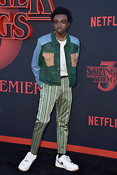 """Caleb McLaughlin attends the premiere of Netflix's """"Stranger Things"""" Season 3 on June 28, 2019 in Santa Monica, CA, USA. Photo by Lionel Hahn/ABACAPRESS.COM"""