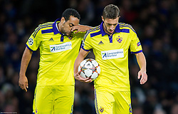 Marcos Tavares of Maribor and Agim Ibraimi of Maribor before penalty shot of Ibraimi during football match between Chelsea FC and NK Maribor, SLO in Group G of Group Stage of UEFA Champions League 2014/15, on October 21, 2014 in Stamford Bridge Stadium, London, Great Britain. Photo by Vid Ponikvar / Sportida.com