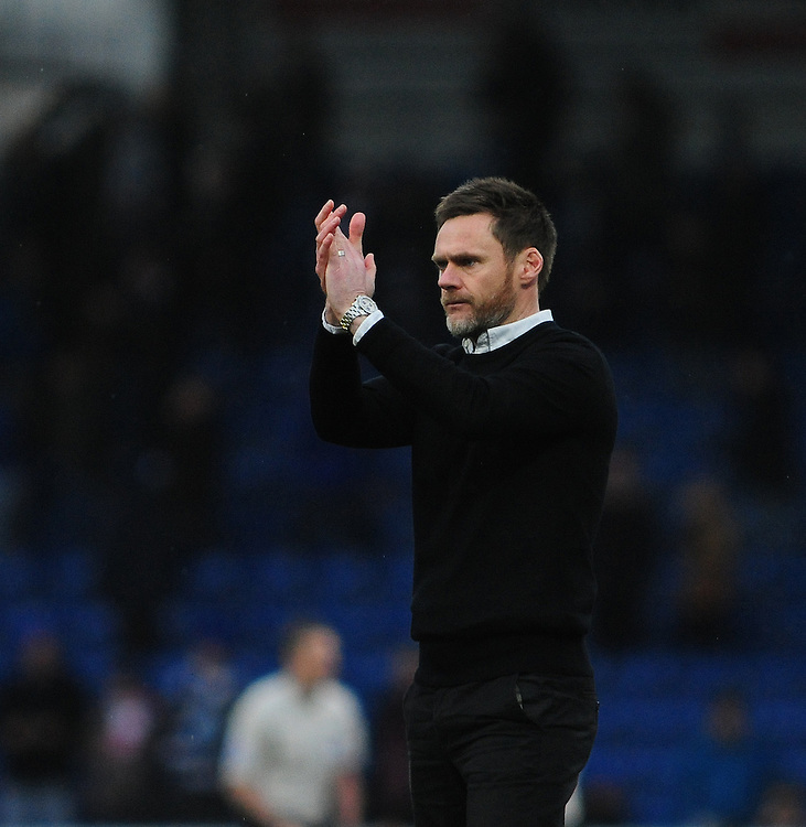 Fleetwood Town manager Graham Alexander applauds the fans at the final whistle <br /> <br /> Photographer Chris Vaughan/CameraSport<br /> <br /> Football - The Football League Sky Bet League One - Chesterfield v Fleetwood Town - Saturday 28th February 2015 - Proact Stadium - Chesterfield<br /> <br /> © CameraSport - 43 Linden Ave. Countesthorpe. Leicester. England. LE8 5PG - Tel: +44 (0) 116 277 4147 - admin@camerasport.com - www.camerasport.com