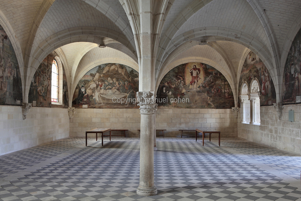 Chapter House, Fontevraud Abbey, Fontevraud-l'Abbaye, Loire Valley, Maine-et-Loire, France. The Chapter House was built in the 16th century with 2 pillars supporting a rib vaulted ceiling. The walls were painted in 1563 with frescoes of scenes from Christ's Passion by the Anjou artist Thomas Pot. The abbey was founded in 1100 by Robert of Arbrissel, who created the Order of Fontevraud. It was a double monastery for monks and nuns, run by an abbess. Picture by Manuel Cohen