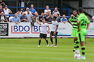 Ricky Miller celebrates his hat trick during the Vanarama National League match between Dover Athletic and Forest Green Rovers at Crabble Athletic Ground, Dover, United Kingdom on 10 September 2016. Photo by Shane Healey.