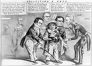 Soliciting a Vote 1852. Four candidates struggle to force their own election ticket. Unknown