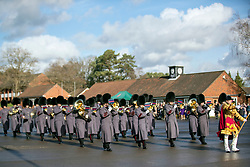 A band plays prior to the Prince of Wales presenting campaign medals to soldiers from the 1st Battalion Welsh Guards at Elizabeth Barracks in Woking, following their return from Afghanistan.
