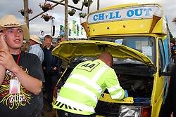 Glastonbury 2008..  AA coming out for broken down ice cream van