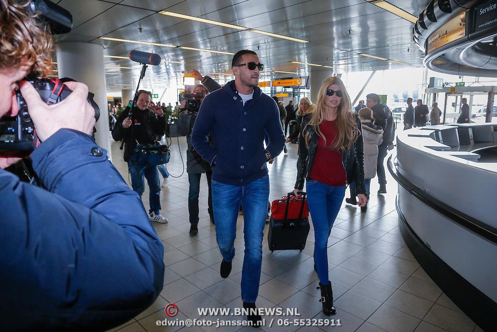 NLD/Schiphol/20130313 - Vertrek Badr Hari en Estelle Cruijff naar K1 WGP finale Zagreb,