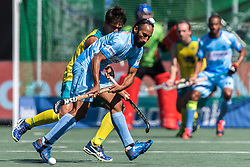 (L-R) Tim Brand of Australia, Sardar Singh of India during the Champions Trophy finale between the Australia and India on the fields of BH&BC Breda on Juli 1, 2018 in Breda, the Netherlands.