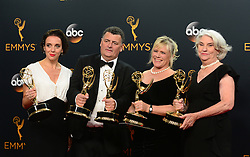 September 18, 2016 - Los Angeles, California, United States - Amanda Abbington, Steve Moffat, Sue Vertue, and Rebecca Eaton who won the the Emmy Award for Outstanding Television Movie pose backstage at the 68th Annual Emmy Awards at the Microsoft Theater in Los Angeles, California on Sunday, September 18, 2016. (Credit Image: © Michael Owen Baker/Los Angeles Daily News via ZUMA Wire)