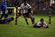 Adam Ashley-Cooper dives over to score during the Western Force v ACT Brumbies Super 14 rugby union round 14 match played at Subiaco Oval, Perth Western Australia on Friday 16th May 2007. Force 29 defeated the Brumbies 22. Photo: Clay Cross/PHOTOSPORT
