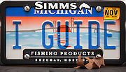 The license plate on a fly fishing guide's truck.  Michigan.