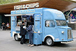 Mobile fish & chips van on the South Bank, London April 2019 UK