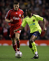 Photo: Paul Thomas.<br /> Liverpool v Barcelona. UEFA Champions League. Last 16, 2nd Leg. 06/03/2007.<br /> <br /> Samuel Eto'o of Barcelona goes past Steven Gerrard (L) of Liverpool.