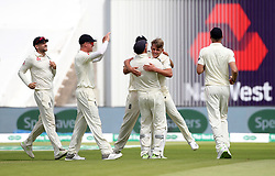 England's Sam Curran celebrates the wicket of India's Lokesh Rahul during day two of the Specsavers First Test match at Edgbaston, Birmingham.