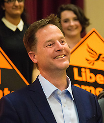 Islington Assembly Hall, London, July 16th 2015. The Liberal Democrats announce their new leader Tim Farron MP who was elected by party members in a vota gainst Norman Lamb MP. PICTURED: Former Lib Dem Leader Nick Clegg listens as Farron reminds the party faithful of Clegg's humbling speech given after their battering in the recent general election.