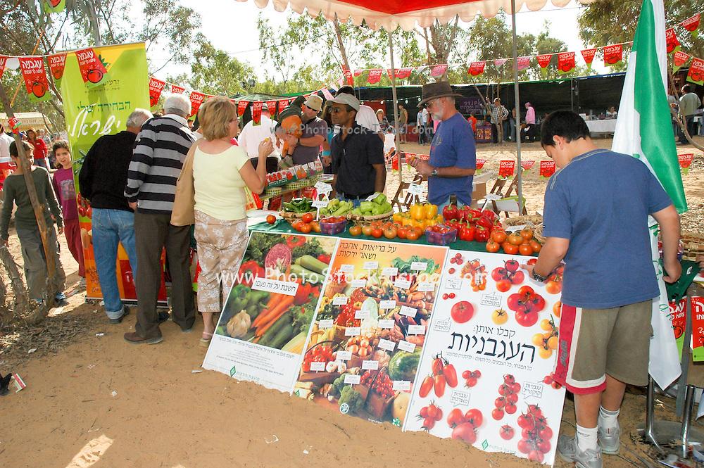 Israel, Negev, Eshkol Region, The tomato festival October 2005. Vegetable stall