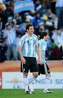 Gonzalo Higuain e Lionel Messi (Argentina) <br /> Argentina Corea del Sud 4-1 - Argentina vs South Korea 4-1<br /> Campionati del Mondo di Calcio Sudafrica 2010 - World Cup South Africa 2010<br /> Soccer Stadium, Johannesburg, 17 / 06 / 2010<br /> © Giorgio Perottino / Insidefoto