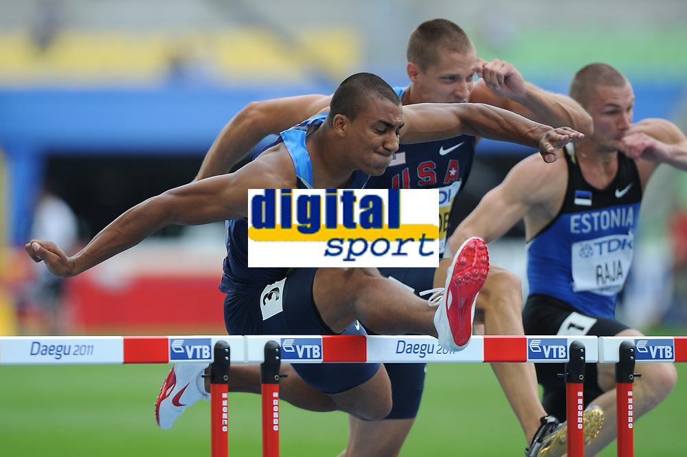 ATHLETICS - IAAF WORLD CHAMPIONSHIPS 2011 - DAEGU (KOR) - DAY 2 - 28/08/2011 - DECATHLON - 110M HURDLES - ASHON EATON (USA) - TREY HARDEE (USA) - PHOTO : FRANCK FAUGERE / KMSP / DPPI