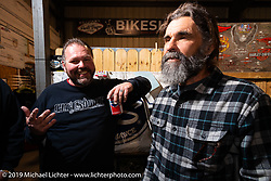 Roadside Marty and Charlie Ransom at Bill Dodge's Blings Cycles industry party during Daytona Bike Week. Daytona Beach, FL. USA. Wednesday March 14, 2018. Photography ©2018 Michael Lichter.