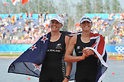 Shunyi, CHINA.   NZL W2X, Georgina and Caroline EVERS-SWINDELL, awards dock, at the 2008 Olympic Regatta, Shunyi Rowing Course.  Sat,.16.08.2008.  [Mandatory Credit: Peter SPURRIER, Intersport Images