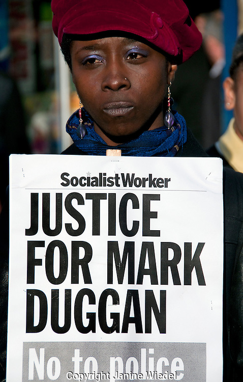 Family & friends at Vigil for Mark Duggan killed in 2011 by police officer following inquest judgement of lawful killing  Jan 11 2014 Tottemham North London