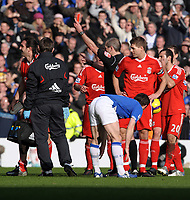 Sotirios Kyrgiakos is shown the Red Card by Referee Martin Atkinson<br /> Liverpool 2009/10<br /> Liverpool V Everton 06/02/10<br /> The Premier League<br /> Photo Robin Parker Fotosports International