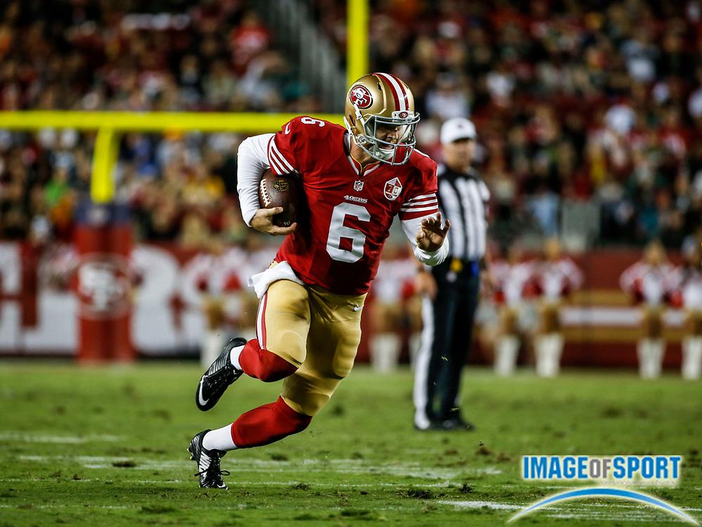 Aug 26, 2016, Santa Clara, CA, USA; San Francisco 49ers quarterback Jeff Driskel runs against the Green Bay Packers in a preseason NFL game at Levi's Stadium. Green Bay beat San Francisco 21-10.