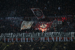 October 21, 2018 - Milan, Milan, Italy - AC Milan fans show their support during the serie A match between FC Internazionale and AC Milan at Stadio Giuseppe Meazza on October 21, 2018 in Milan, Italy. (Credit Image: © Giuseppe Cottini/NurPhoto via ZUMA Press)