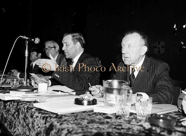 Members of the council during the GAA congress shake hands at the Coláiste Mhuire on the 24th of March 1979.