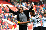 Derby County manager Frank Lampard celebrates the 2-0 win over Bristol City at full time in front of the cheering Derby fans during the EFL Sky Bet Championship match between Bristol City and Derby County at Ashton Gate, Bristol, England on 27 April 2019.