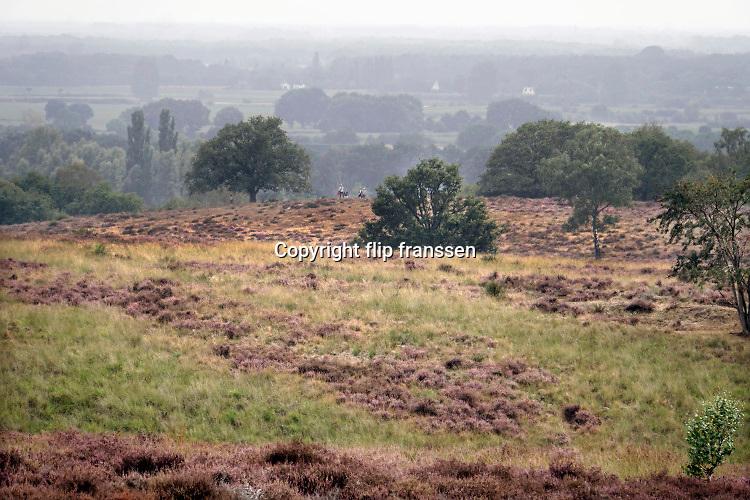 Nederland, Mook, 23-8-2019 Natuurgebied De Mookerheide. Mensen wandelen door het gebied . Nu het even geregend heeft staat de hei mooi in bloei. Toch zijn er door de droogte van dit en vorig jaar veel heistruiken dood gegaan, verdord. Door het hoge stikstofgehalte zijn grote plekken ontstaan waar gras de overhand heeft gekregen . Dit vergrassen bedreigt de hei .Ook bekend om de historische Slag op de Mookerheide op 14 april 1574. De Mookerhei is een natuurgebied ten oosten van Mook in de provincie Limburg. Zij ligt op een uitloper van de Nijmeegse stuwwal. In het zuidelijke deel groeit struikheide die normaal in augustus prachtig bloeit. Dit gebied is onderdeel van de wandelroute, pelgrimsroute, walk of wisdom door het rijk van Nijmegen. Foto: ANP/ Hollandse Hoogte/ Flip Franssen