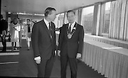 Mr. Charlie Haughey T.D., Minister for Agriculture, pictured with Mr. Maxie Cosgrove, President of the British Equine Veterinary Association at the 5th  Annual Congress of the Association, which the Minister opened at the Intercontintenal Hotel.<br /> 25.10.1966