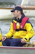 Hammersmith, London. 2002 University Boat Race, 26/3/2002, Tideway Week,<br /> <br /> 2002 Varsity Boat Race<br /> 27/3/2002<br /> Oxford Blue Boat training. Chief Coach. Sean BOWDEN<br /> <br /> <br /> [Mandatory Credit; Peter SPURRIER/Intersport Images] 20020327 University Boat Race, [Varsity],  Tideway Week. Putney. London
