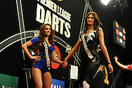 A touch of glamour.  McCoy's Premier league darts, week 7 event at the Motorpoint Arena in Cardiff, South Wales on Thursday 21st March 2013. pic by Andrew Orchard, Andrew Orchard sports photography,