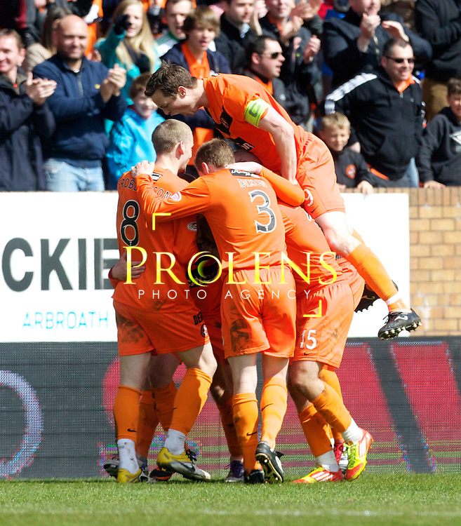 SPL Dundee United FC v  Hearts FC Scottish Premier League Season 2011-12.28-04-12...Dundee United's Gary Mackay Steven celebrates with John Rankin aand team mates after scoring goal number 2 to make it 2-1 to United       during the Scottish premier League clash between Euro spot chasing Dundee United FC and Heart of Midlothian FC...At Tannadice Stadium, Dundee..Saturday 28th April 2012.Picture Mark Davison/ Prolens Photo Agency / PLPA