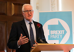 © Licensed to London News Pictures. 23/04/2019. London, UK. Matthew Patten speaking at a Brexit Party candidate launch event in London. Nigel Farage launched his new political party, the Brexit Party earlier this month, to campaign for the European elections. Photo credit: Vickie Flores/LNP