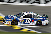 NASCAR Sprint Cup Series driver Danica Patrick crosses the start-finish line during a practice run at Kansas Speedway in Kansas City, Kan., Saturday, Oct. 4, 2014. (AP Photo/Colin E. Braley)