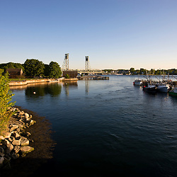 The Memorial Bridge spans the Pisctaqua River in Portsmouth, New Hampshire.