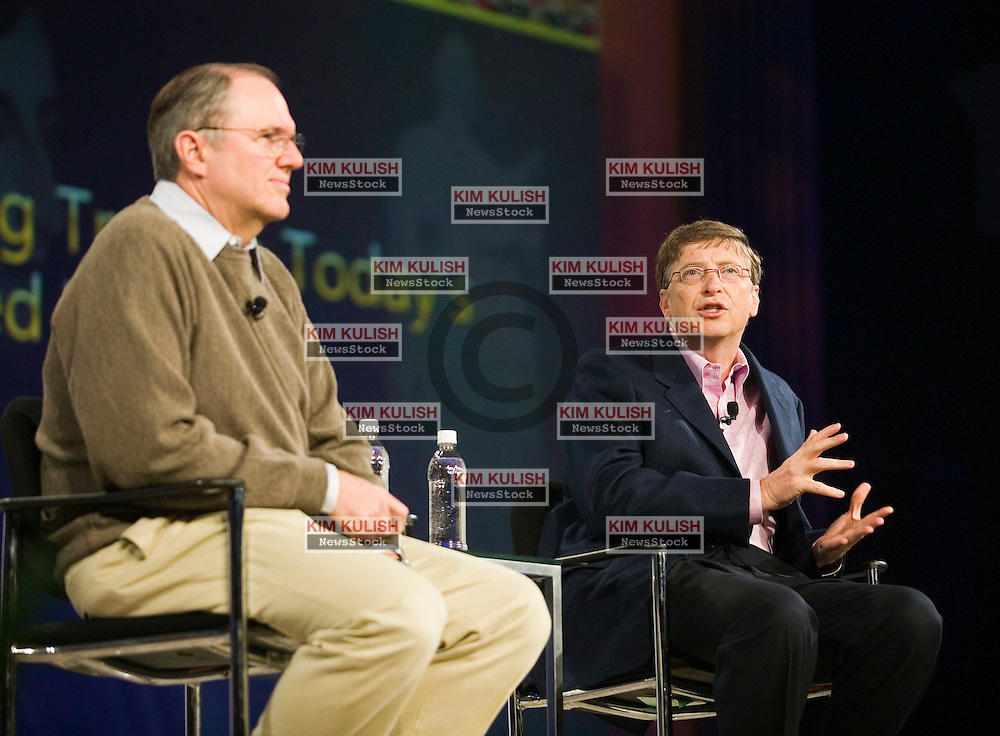 Microsoft Corp. Chairman Bill Gates (R) speaks as Microsoft Chief Research and Strategy Officer Craig Mundie listens during their keynote address at the RSA Conference 2007 in San Francisco, February 6, 2007. During the keynote, Gates and Mundie discussed how the industry can further advance efforts around trustworthy computing in order to enable people to access, share and use corporate and personal information without fear is will be compromised, stolen or exploited..Photo by Kim Kulish