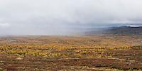 Approaching rain over autumn mountain landscape near Serve hut, Kungsleden trail, Lapland, Sweden