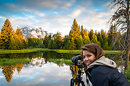 Isabelle capturing the beauty of Shwabacker Landing at sunrise in Grand Teton National Park