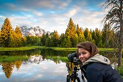 Isabelle capturing the beauty of Shwabacker Landing at sunrise in Grand Teton National Park