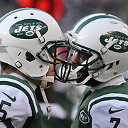 New York Jets quarterbacks Matt Simms, (left), and Geno Smith, talk on the sideline during the New York Jets Vs Miami Dolphins  NFL American Football game at MetLife Stadium, East Rutherford, NJ, USA. 1st December 2013. Photo Tim Clayton