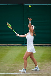 July 9, 2018 - London, England, U.S. - LONDON, ENG - JULY 09: KIKI BERTENS (NED) during day seven match of the 2018 Wimbledon on July 9, 2018, at All England Lawn Tennis and Croquet Club in London,England. (Photo by Chaz Niell/Icon Sportswire) (Credit Image: © Chaz Niell/Icon SMI via ZUMA Press)