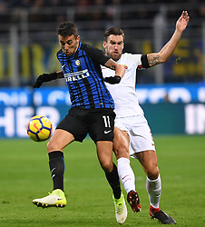 MILAN, Jan. 22, 2018  Inter Milan's Matias Vecino (L) competes during a Serie A soccer match between Inter Milan and Roma in Milan, Italy, Jan. 21, 2018. The game ends with a 1-1 tie. (Credit Image: © Alberto Lingria/Xinhua via ZUMA Wire)