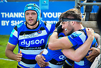Rugby Union - 2020 / 2021 Gallagher Premiership - Round 22 - Bath vs Northampton Saints - Recreation Ground<br /> <br /> Bath Rugby's Josh Bayliss (right) celebrates scoring his sides fourth try as Zach Mercer looks on.<br /> <br /> COLORSPORT/ASHLEY WESTERN