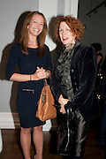 JANE STEIGRAD; ANN MACGREGOR, MCA Sydney cocktails. Brandon rooms. ICA. London. 11 October 2011. <br /> <br />  , -DO NOT ARCHIVE-© Copyright Photograph by Dafydd Jones. 248 Clapham Rd. London SW9 0PZ. Tel 0207 820 0771. www.dafjones.com.