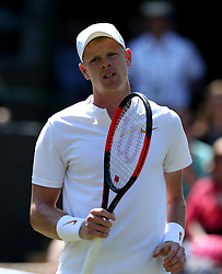 Kyle Edmund on day two of the Wimbledon Championships at the All England Lawn Tennis and Croquet Club, Wimbledon. PRESS ASSOCIATION Photo. Picture date: Tuesday July 3, 2018. See PA story TENNIS Wimbledon. Photo credit should read: Jonathan Brady/PA Wire. RESTRICTIONS: Editorial use only. No commercial use without prior written consent of the AELTC. Still image use only - no moving images to emulate broadcast. No superimposing or removal of sponsor/ad logos. Call +44 (0)1158 447447 for further information.