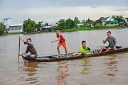 Chlidren in Canoe, Mekong River, Vietnam, Asia