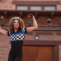 Avery Taureaux performs at the Welcome Reception and Queer Showcase in front of the Navajo Nation Council Chambers Friday, June 28 as part of DinéPride 2019 in Window Rock.